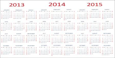 mon 12: Vector calendar for 2013-2015 Illustration