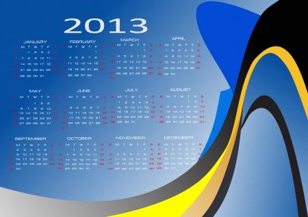 mon 12: Vector calendar for 2013
