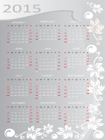mon 12: Vector calendar for 2015