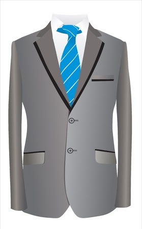 designer clothes: jacket and tie on a white background