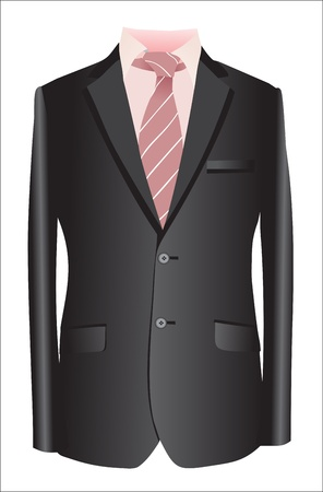 jacket and tie on a white background Vector