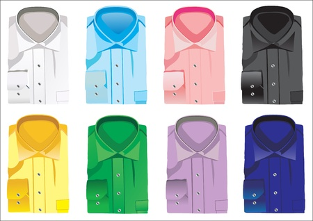 in men's shirt: collection of mens folded shirts isolated on white Illustration