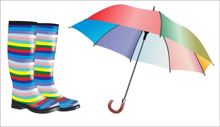 wellies: rubber boots and a colorful umbrella with reflection in water Illustration