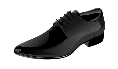 business shoes: Elegant shiny black dress shoes Illustration