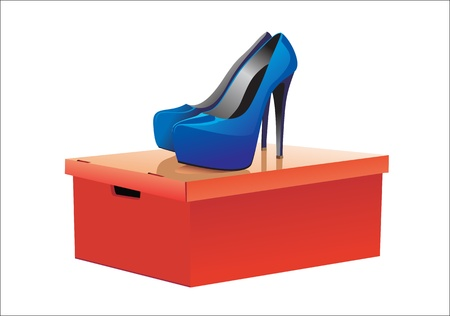 fetishes: leather shoes with high heel standing on a red box over white background. Illustration