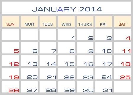 Calendar January 2014 Stock Vector - 15994319
