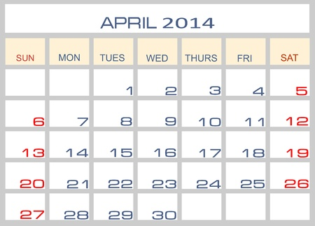 Calendar April 2014 Stock Vector - 15993733