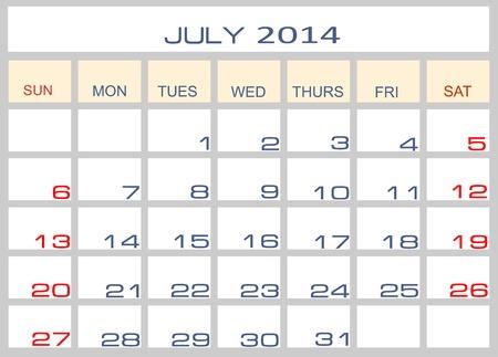 datebook: Calendar july 2014