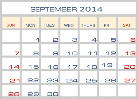 Calendar September 2014 Stock Vector - 15994317