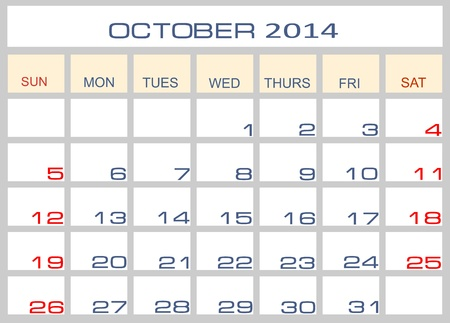 Calendar October 2014 Stock Vector - 15995220