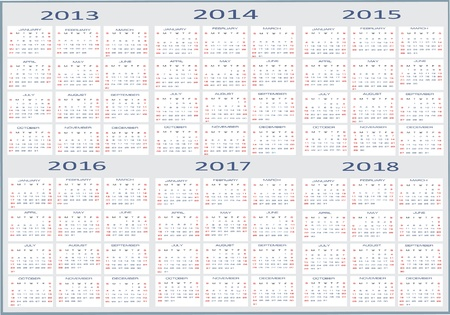 Basic Calendar, 2013, 2014, 2015, 2016, 2017, 2018 Stock Vector - 15995320