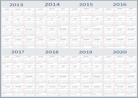 New year 2013, 2014, 2015, 2016, 2017, 2018, 2019, 2020 Calendars Çizim