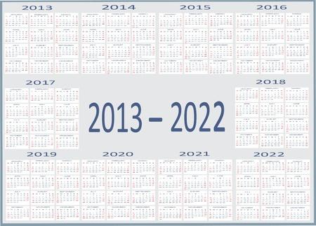 New year 2013, 2014, 2015, 2016, 2017, 2018, 2019, 2020, 2021, 2022  Calendars
