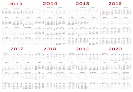 New year 2013, 2014, 2015, 2016, 2017, 2018, 2019, 2020 Calendars Illustration