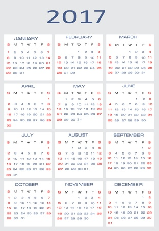 Vector calendar for 2017 Stock Vector - 15995297