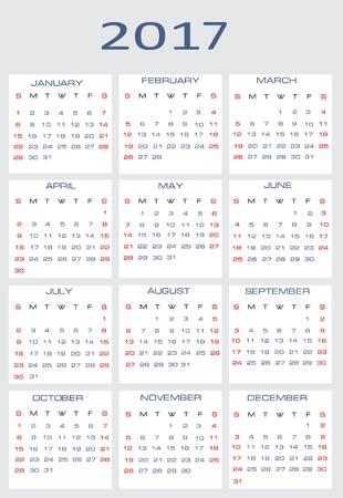 mon 12: Vector calendar for 2017