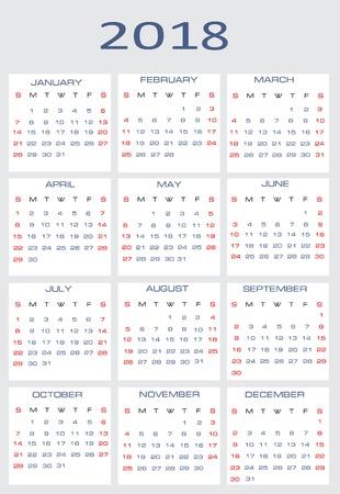 mon 12: Vector calendar for 2018