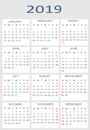 Vector calendar for 2019 Stock Vector - 15995293