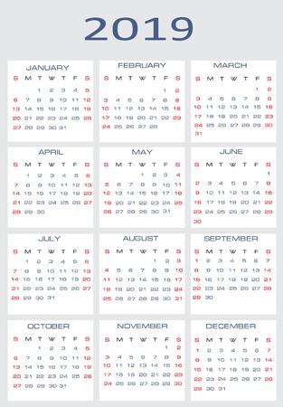 Vector calendar for 2019 Stock Vector - 15995293
