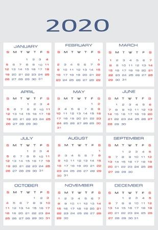 mon 12: Vector calendar for 2020 Illustration