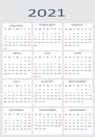 Vector calendar for 2021 Stock Vector - 15995291