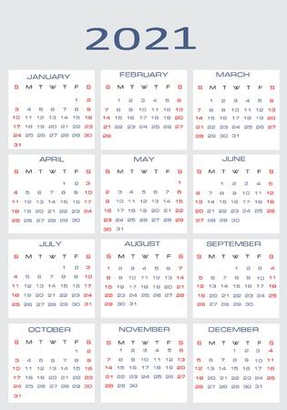 mon 12: Vector calendar for 2021