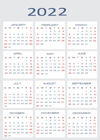 mon 12: Vector calendar for 2022