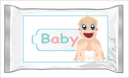 packaging for wet wipes isolated on white Stock Vector - 16084697