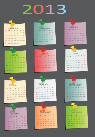 mon 12: calendar for 2013