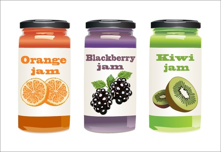 mermelada: Conjunto de tarros con mermelada de frutas y bayas Vectores