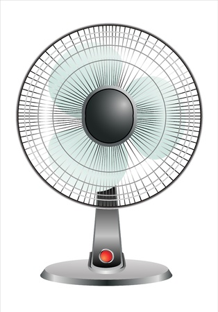 electric iron: electric fan in front of white background