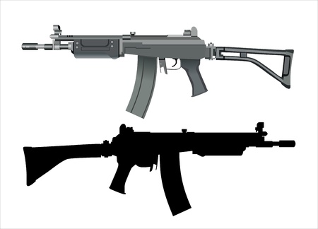 machine gun isolated on the white background Çizim
