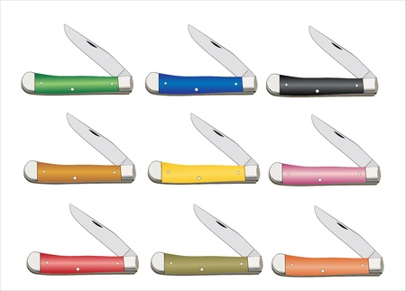Red Green Pink And Yellow Pocket Knife Vector