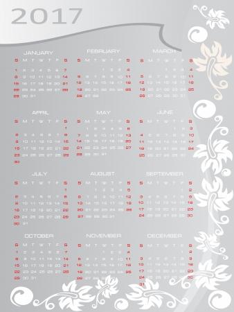 Vector calendar 2017 Stock Vector - 16392117