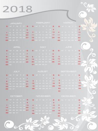 Vector calendar 2018 Stock Vector - 16392305