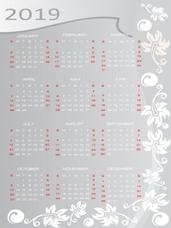 Vector calendar 2019 Stock Vector - 16392282