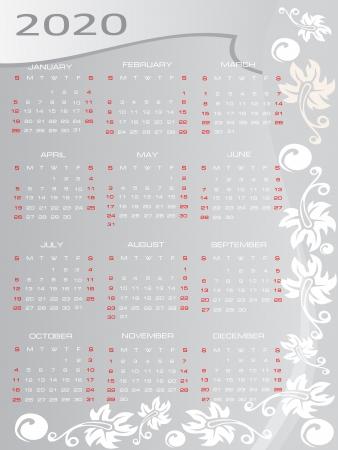 Vector calendar 2020 Vector