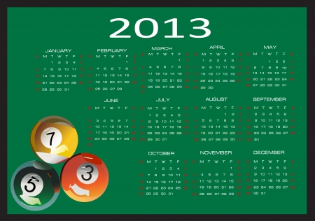 Calendar for 2013, Week starts on Sunday Stock Vector - 16392148