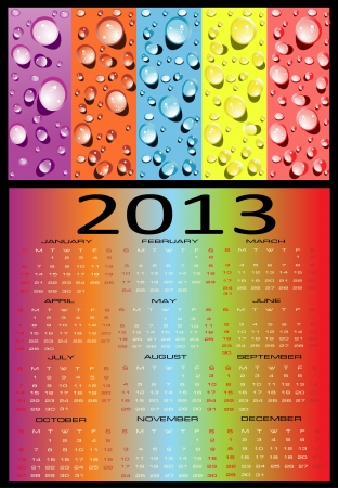 Calendar for 2013, Week starts on Sunday  Vector