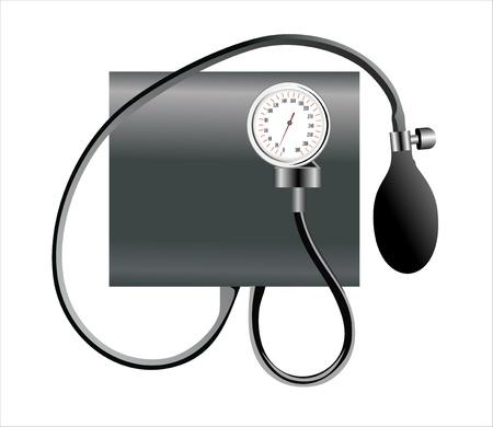 hypertensive: Black tonometer isolated on white Illustration