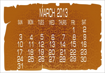 calendar March 2013 Stock Vector - 16392121