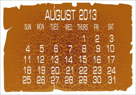 Vector calendar August 2013 Stock Vector - 16392213