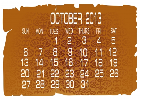 Vector calendar October 2013 Stock Vector - 16392286