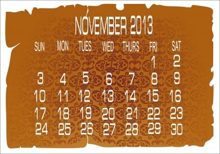 Vector calendar November 2013 Stock Vector - 16392214