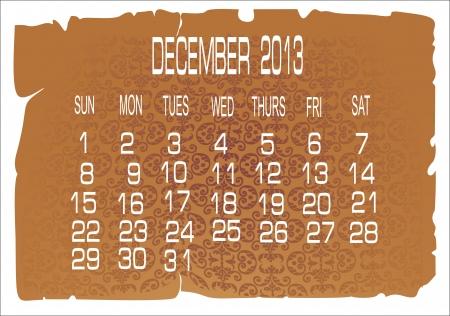 december kalender: Vector kalender december 2013 Stock Illustratie