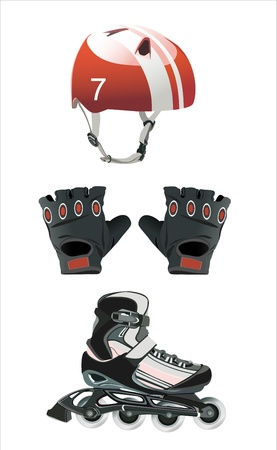 Illustration of roller skating equipment - roller skates, gloves, helmet, Vector