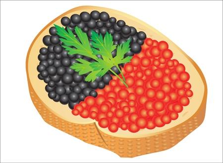 caviar: Sandwich au caviar rouge et noir