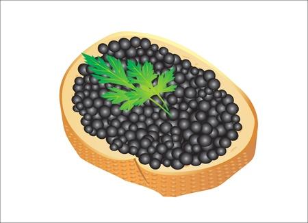 caviar: Black caviar servi sur pain Illustration