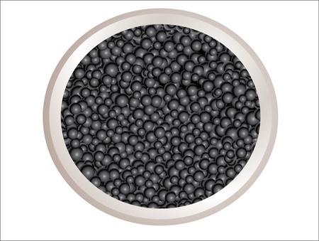 fine dining: Black caviar in metal can Illustration