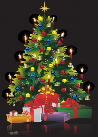 Christmas Tree with Gifts isolated on black Vector